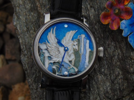 Pegasus - porcelanowa tarcza do zegarka. Leszek Kralka