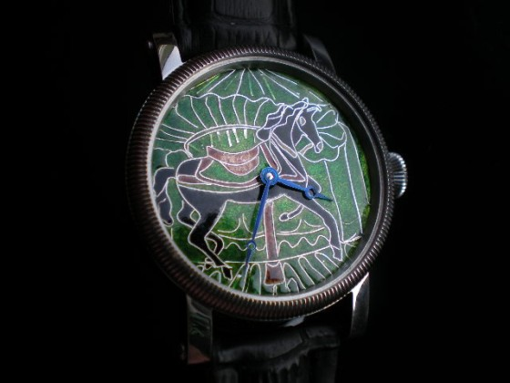 """""""Carousels Horse"""".  Parnis,  hand made dial, silver + enamel cloisonne. ( LK )"""